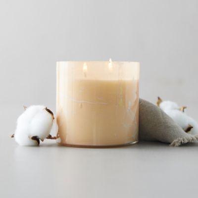 Linnea's Lights Marble Swirl Candle, Belgian Linen
