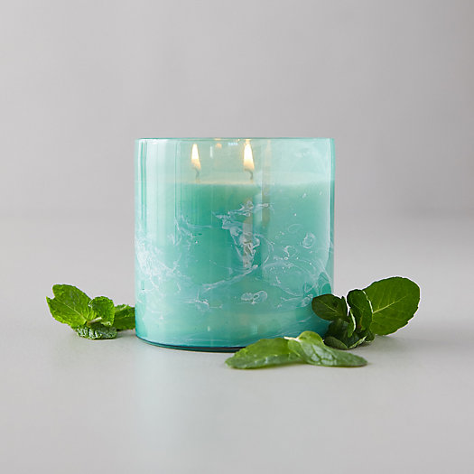 View larger image of Linnea's Lights Marble Swirl Candle, Crushed Mint