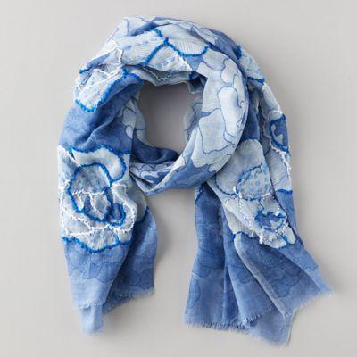 Blue Florals Cotton Scarf
