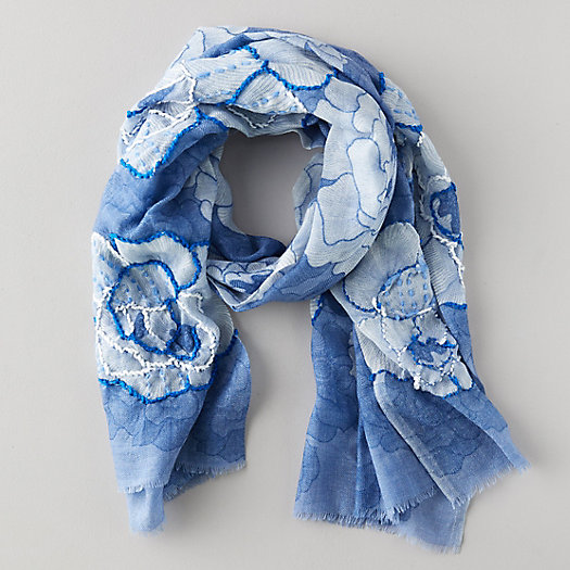 View larger image of Blue Florals Cotton Scarf