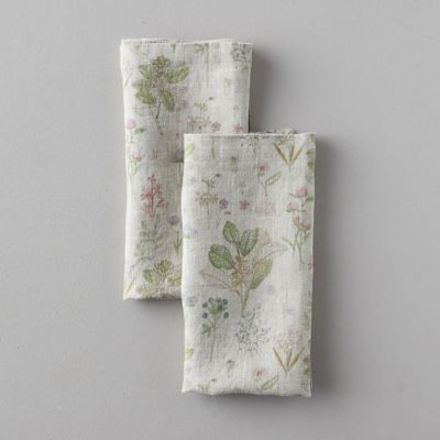 Lithuanian Linen Napkin Set of 2, Botany Floral
