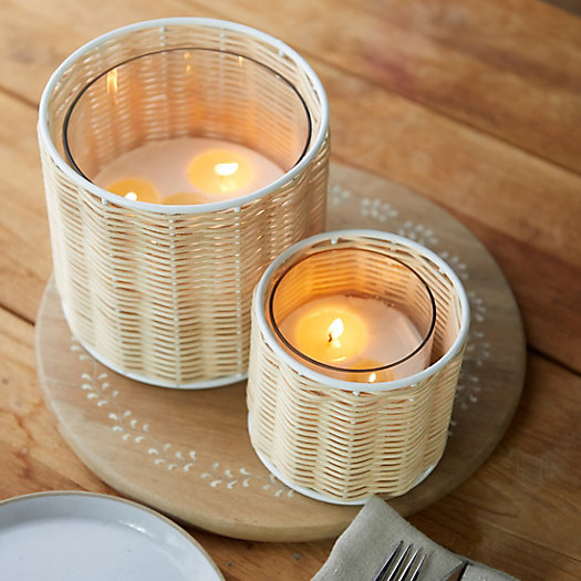 View larger image of Linneas Lights Large Rattan Candle, Sea Salt