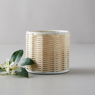 Linneas Lights Small Rattan Candle, Fjord