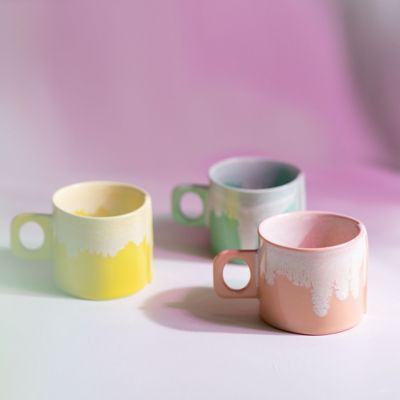 Porcelain Color Drip Mug, Pink