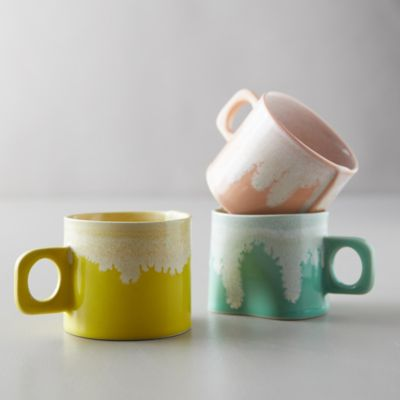 Porcelain Color Drip Mug, Yellow