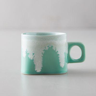 Porcelain Color Drip Mug, Green