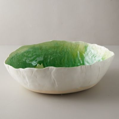Source and Tradition Porcelain Greens Crackle Serving Bowl
