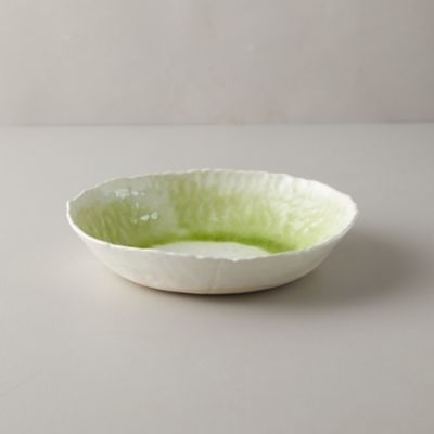 Source and Tradition Porcelain Lime Green Crackle Bowl