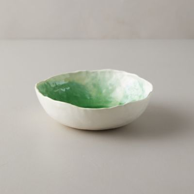 Source and Tradition Porcelain Leaf Green Crackle Bowl
