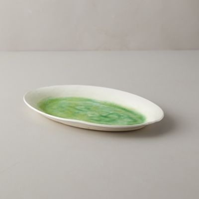 Source and Tradition Porcelain Green Crackle Platter, Small