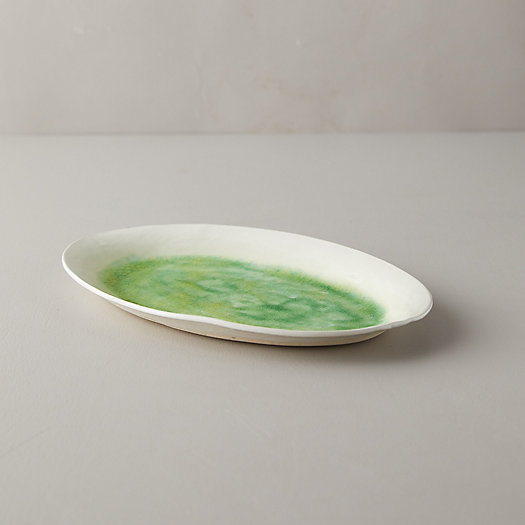 View larger image of Source and Tradition Porcelain Green Crackle Platter, Small