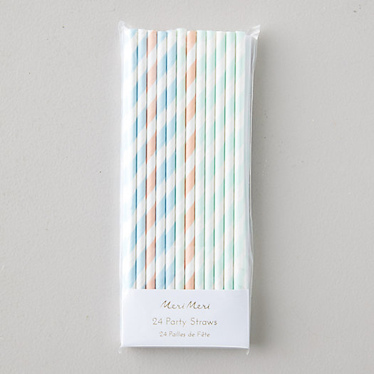 View larger image of Pastel Stripe Paper Party Straws, Set of 24