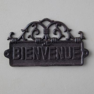Cast  Iron Bienvenue Sign