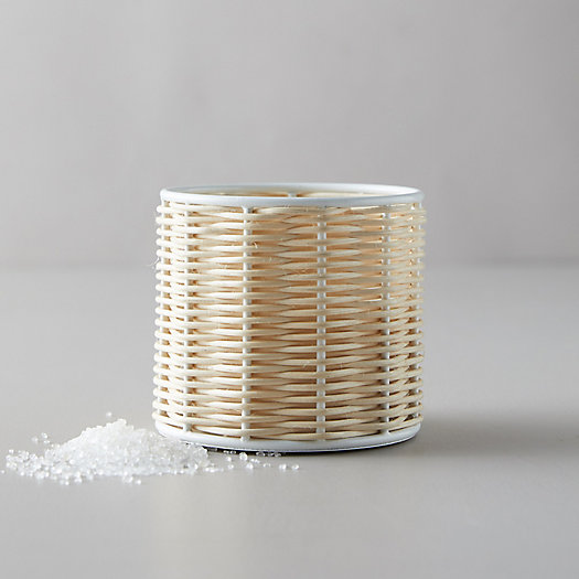 View larger image of Linneas Lights Small Rattan Candle, Sea Salt
