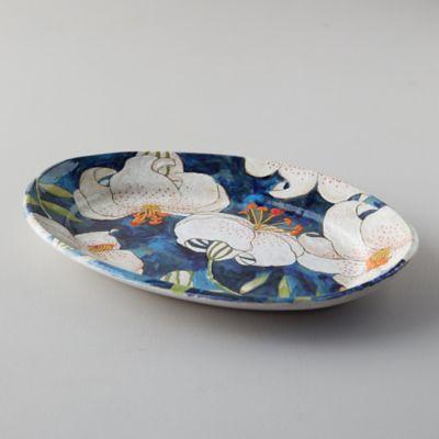 Blue Lily Ceramic Platter, Oval