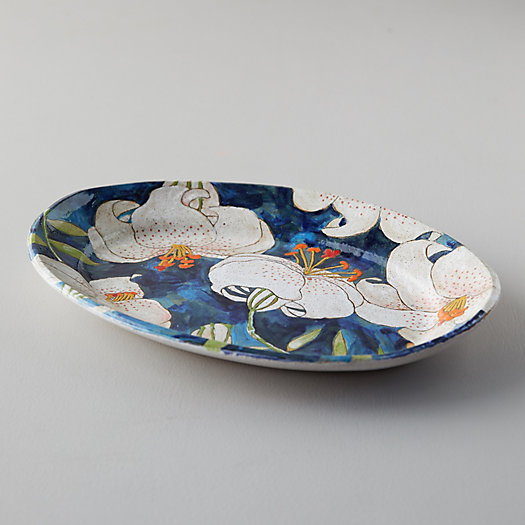 View larger image of Blue Lily Ceramic Platter, Oval