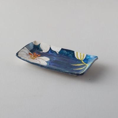 Blue Lily Ceramic Platter, Rectangle