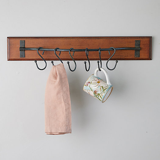 View larger image of Wood Wall Hanger with Hooks