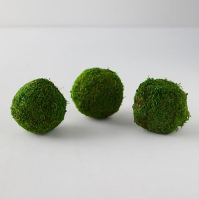 Natural Moss Balls, Set of 3