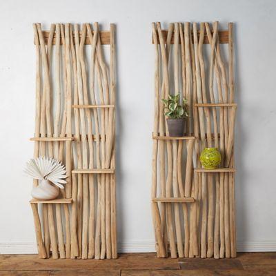 Tall Teak Branch Shelves, Set of 2