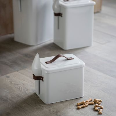 Steel + Leather Pet Food Storage Container