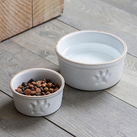 View larger image of Paw Print Stoneware Pet Food Dish