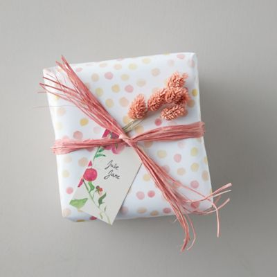 Coral Dot Gift Wrap Sheets, Set of 3