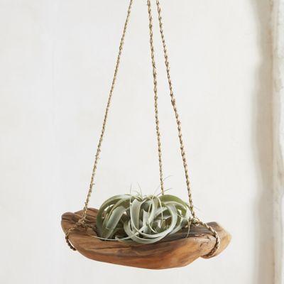 Carved Teak Hanging Basket Planter