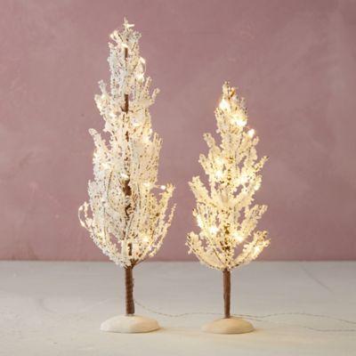 Miniature Faux Pre-Lit Snowy Tree