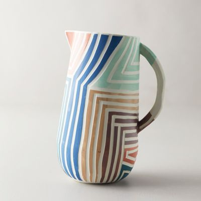 Color Stripe Ceramic Jug