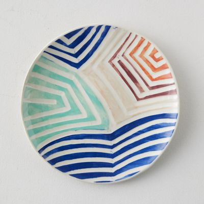 Stripe Color Ceramic Platter, Round