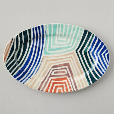 Stripe Color Ceramic Platter, Oval