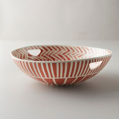Line + Arrow Ceramic Serving Bowl, Large with Handles