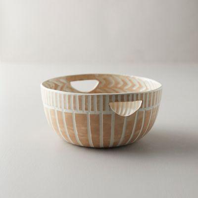 Line + Arrow Ceramic Serving Bowl, Medium with Handles