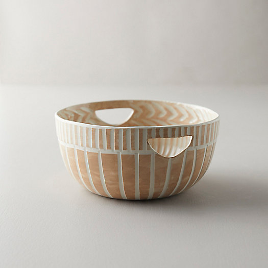 View larger image of Line + Arrow Ceramic Serving Bowl, Medium with Handles