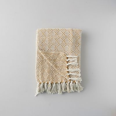 Woven Cotton Throw, Diamond Stripe