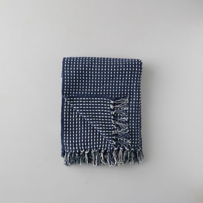 Woven Cotton Throw, Blue Check