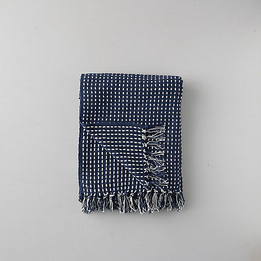 View larger image of Woven Cotton Throw, Blue Check