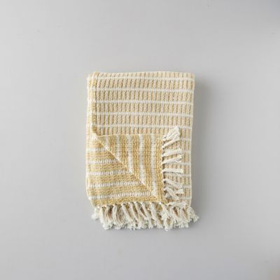 Woven Cotton Throw, Yellow Stripe