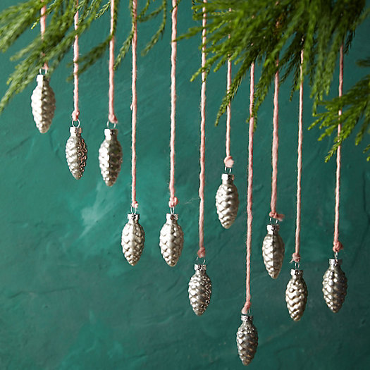 View larger image of Pine Cone Glass Ornaments, Set of 12