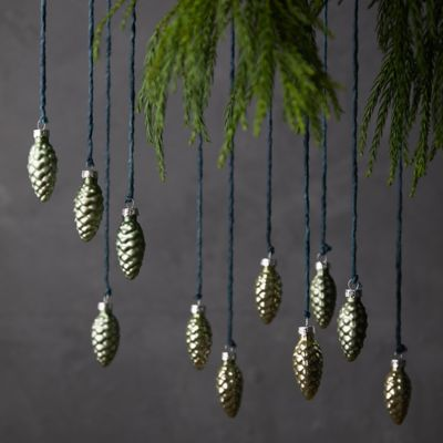 Pine Cone Glass Ornaments, Set of 12