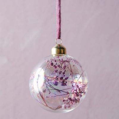 Dried Florals Glass Globe Ornament