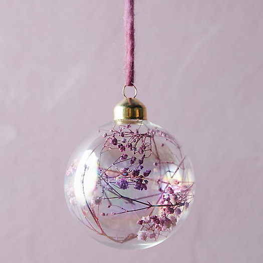 View larger image of Dried Florals Glass Globe Ornament