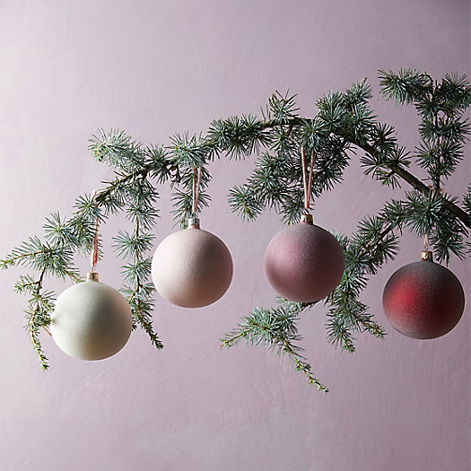 View larger image of Sugared Glass Globe Ornaments, Set of 4