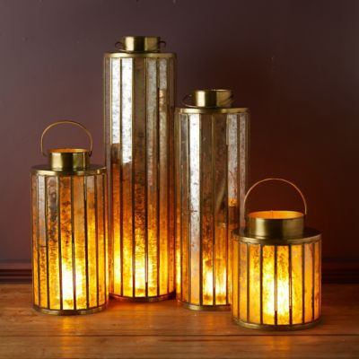 Paned Mercury Glass Lantern