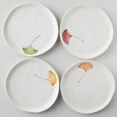 Ginkgo Leaf Dinner Plates, Set of 4