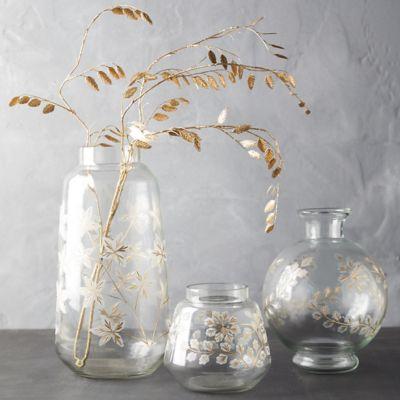 Etched Floral Vase