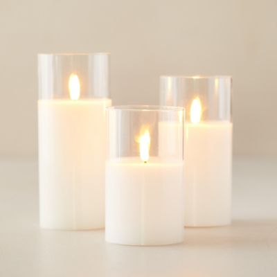 LED Pillar Candle in Glass, Clear