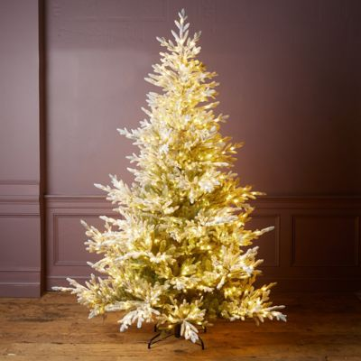 Faux Snowy Pre-Lit Norway Spruce Tree
