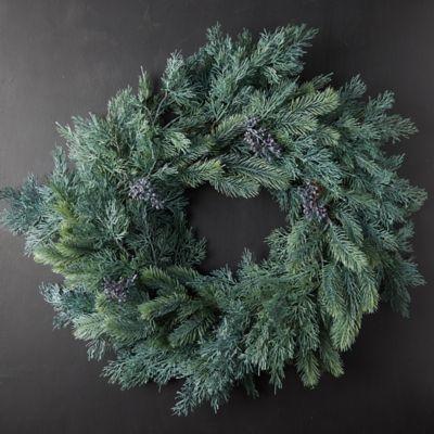 Faux Blue Pine Wreath